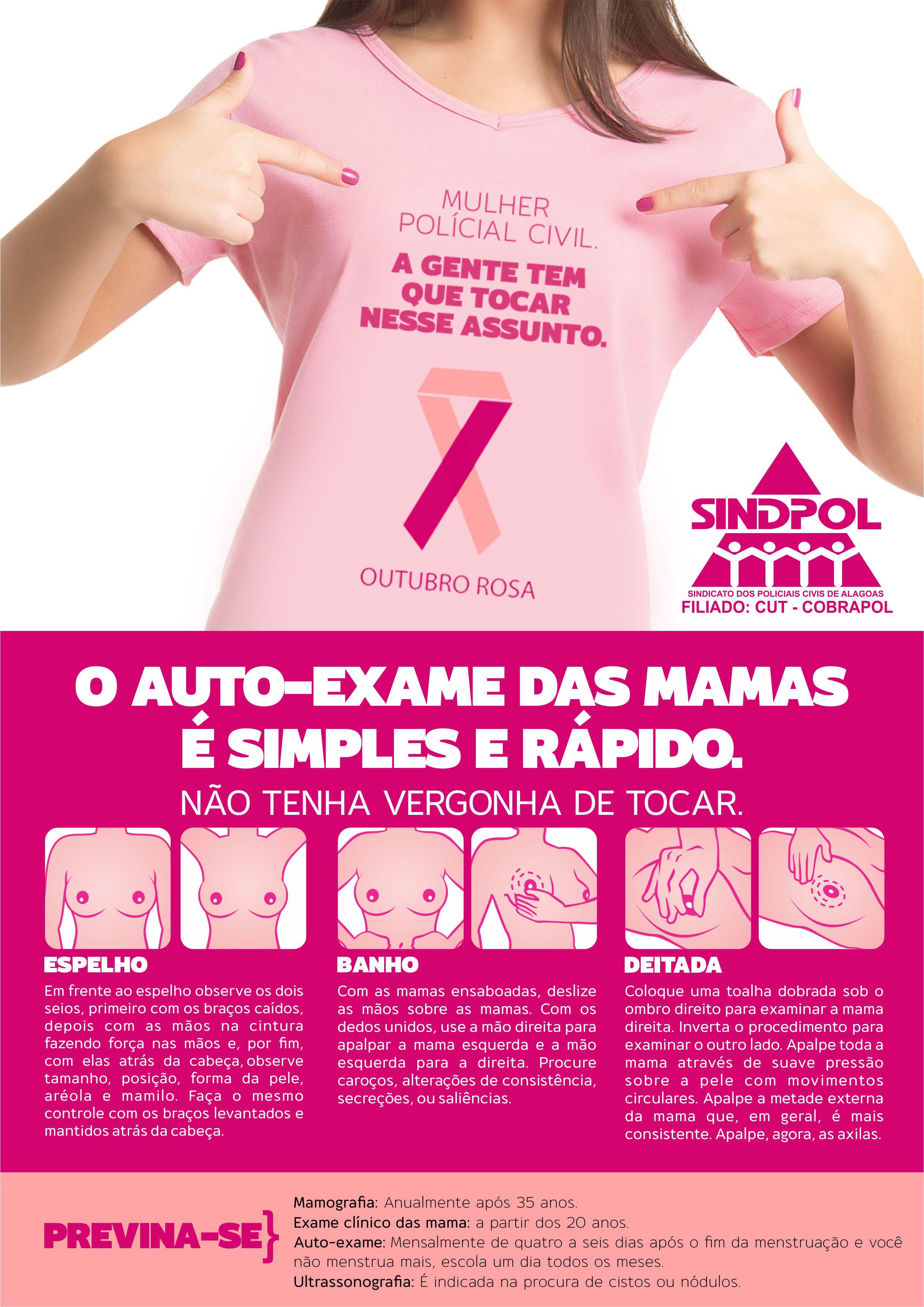 """Sindpol apoia à campanha """"Outubro Rosa""""  SindpolSindpol -> Cartaz Banheiro Feminino"""